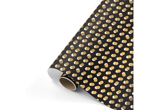 Studio Stationery Cadeaupapier Dots zwart/goud 70x200 cm, per 10