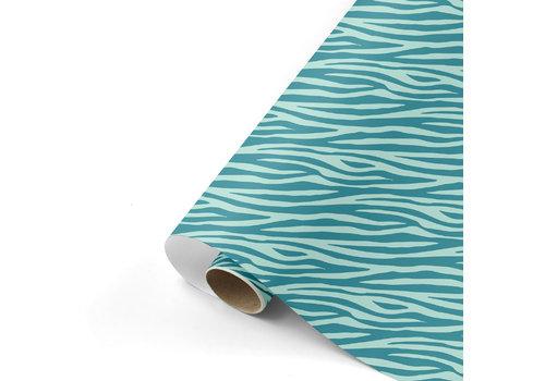 Studio Stationery Gift wrap Zebra petrol/mint 70x200 cm, per 10