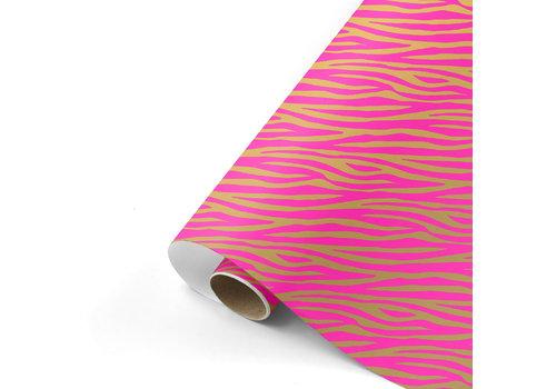 Studio Stationery Gift wrap Zebra pink/gold 70x200 cm, per 10