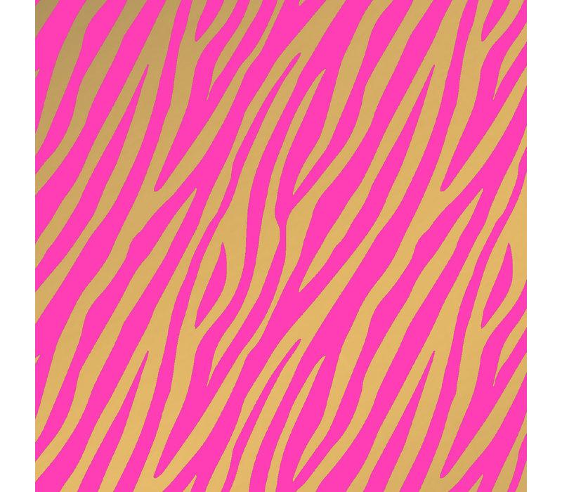Cadeaupapier Zebra roze/goud 70x200 cm, per 10