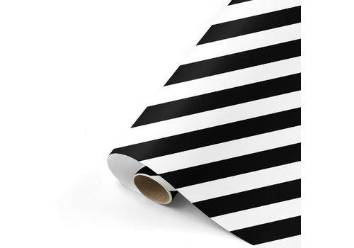 Studio Stationery Cadeaupapier Bold Lines zwart/wit 70x200 cm, per 10
