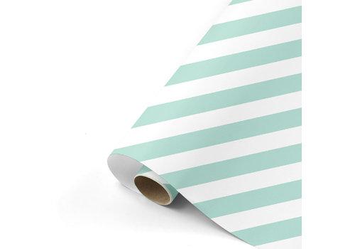 Studio Stationery Cadeaupapier Bold Lines mint/wit 70x200 cm, per 10