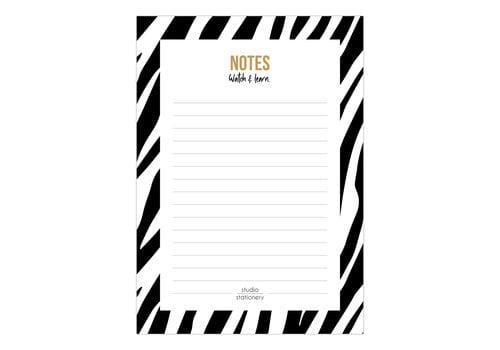 Studio Stationery A6 Noteblock Notes zebra black & white, per 6 stuks