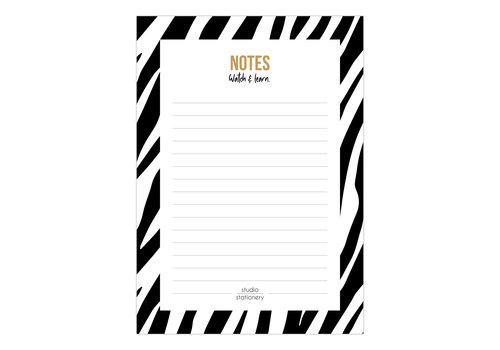 Studio Stationery A6 Noteblock Notes zebra black & white, per 6 pieces