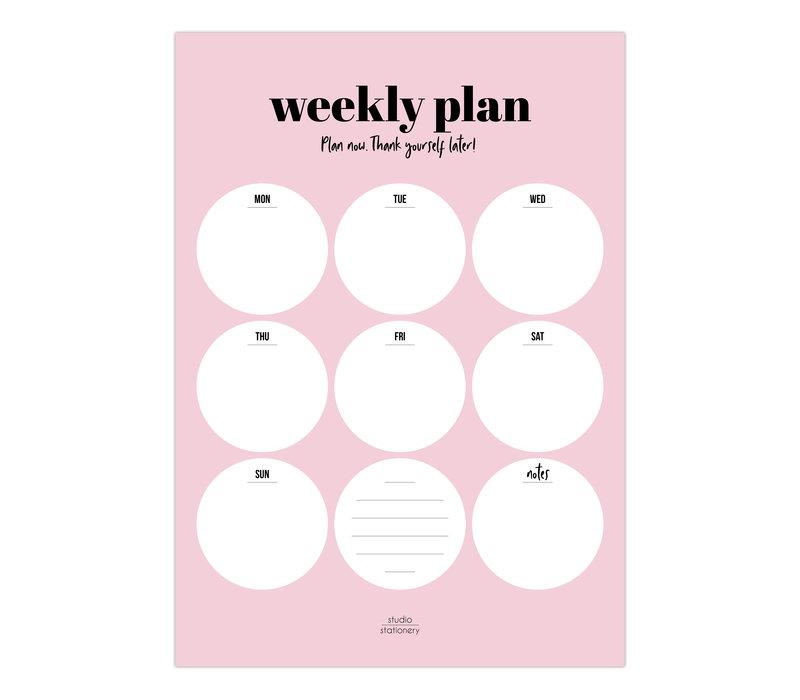 A4 Noteblock Weekly plan Pink, per 5 pieces