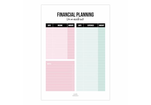 Studio Stationery Financial Planning A5 noteblock