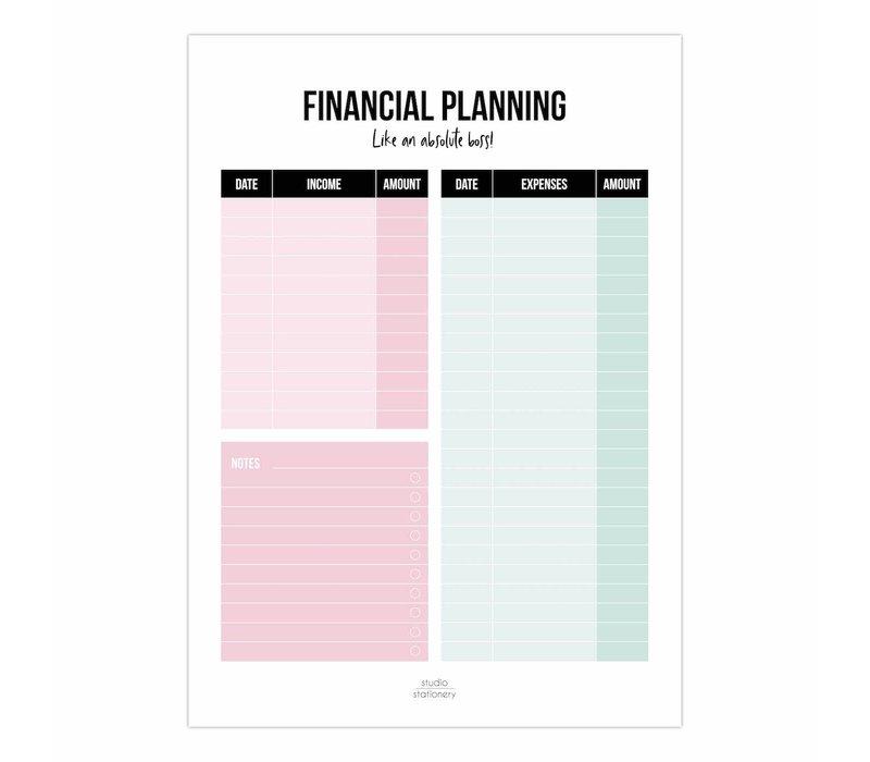 Financial Planning A5 noteblock