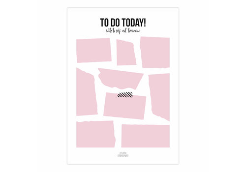 Studio Stationery To do today A5 noteblock pink