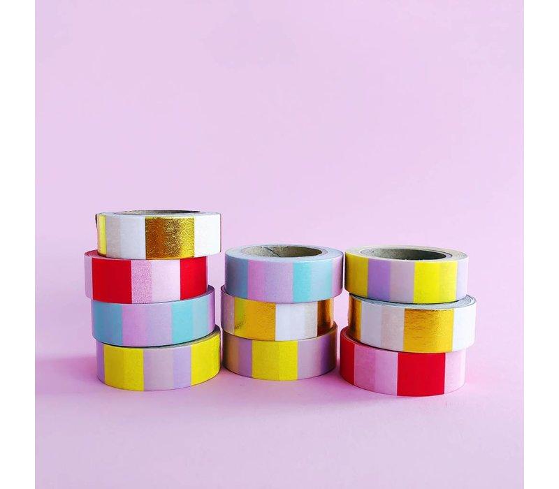 Washi tape Mint pink, per 9 stuks