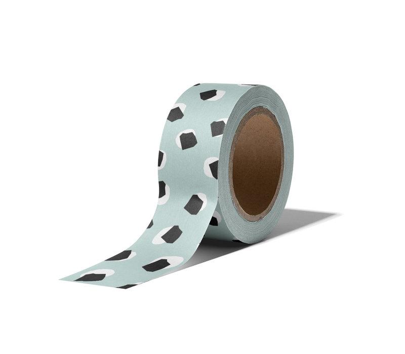 Washi tape Dots mint, per 9 stuks