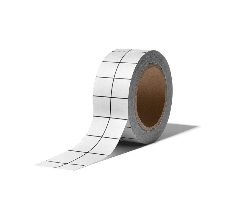 Washi tape Grid white, Per 9 stuks