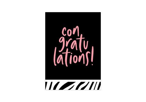 Studio Stationery Kaart Congratulations neon, per 10 stuks