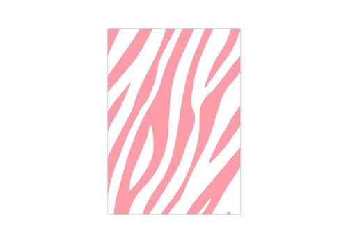 Studio Stationery Card Zebra Pattern neon, per 10 pieces
