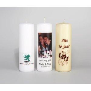 Bedrukte kaarsen 250/80 mm met een logo, foto of tekst