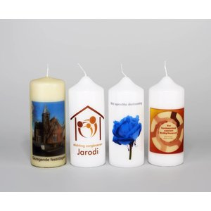 Kaarsen bedrukken 150/60 mm met tekst, foto of logo