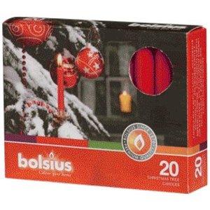 Kerstboomkaarsjes rood 20 stuks. Staffelkorting bij bestelingen van 10 doosjes of meer.
