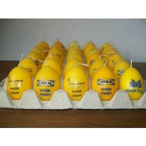 Bedrukte ei kaarsen in 1 kleur met tekst