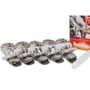 Bolsius Kerstboomkaars houdertjes zilver en 10 stuks