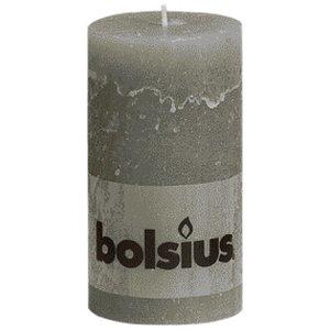 Bolsius Kleine Rustieke stompkaarsen 130/68 mm lichtgrijs