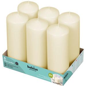 Bolsius Stompkaarsen tray 6 stuks 200/70 mm ivoor