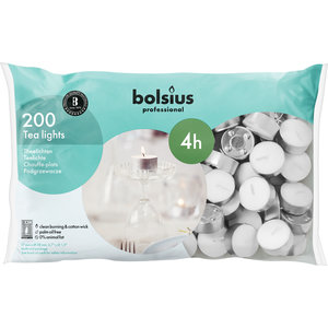 Bolsius Waxinelichtjes 100 stuks in een zak 4 branduren