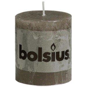 Bolsius kaarsen Bolsius rustieke stompkaarsen 80/68 mm taupe