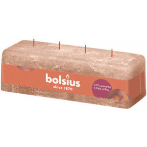 Bolsius Rustieke kaars 250/80/90 mm  Creamy Caramel met 4 lonten