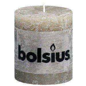 Bolsius Kleine Rustieke stompkaarsen 80/68 mm kiezelgrijs