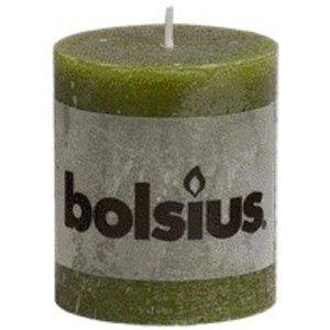Bolsius Kleine Rustieke stompkaarsen 80/68 mm olijfgroen