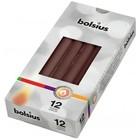 Bolsius Gotische kaarsen kastanjebruin 12 stuks 245/24 mm