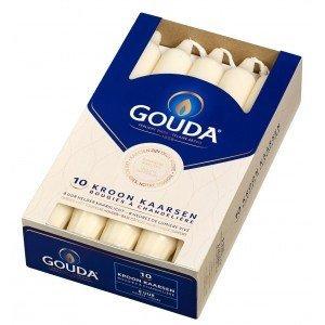 Gouda kaarsen Kroonkaarsen ivoor 10 in een doos 200/24 mm