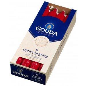 Gouda kaarsen Kroonkaarsen Robijnrood 8 in een doos 240/24 mm