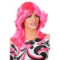 Pruik Sarah neon pink