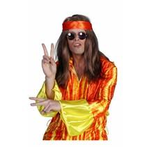 Hippie pruik bruin + hoofdband
