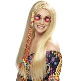 Pruik hippie met vlechtdecoratie blond
