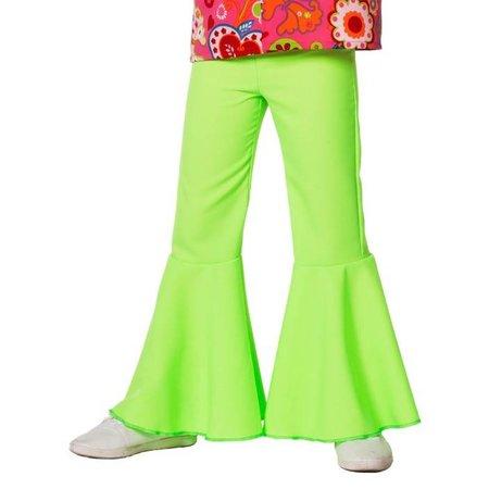 Hippiebroek bi-stretch kind neon groen