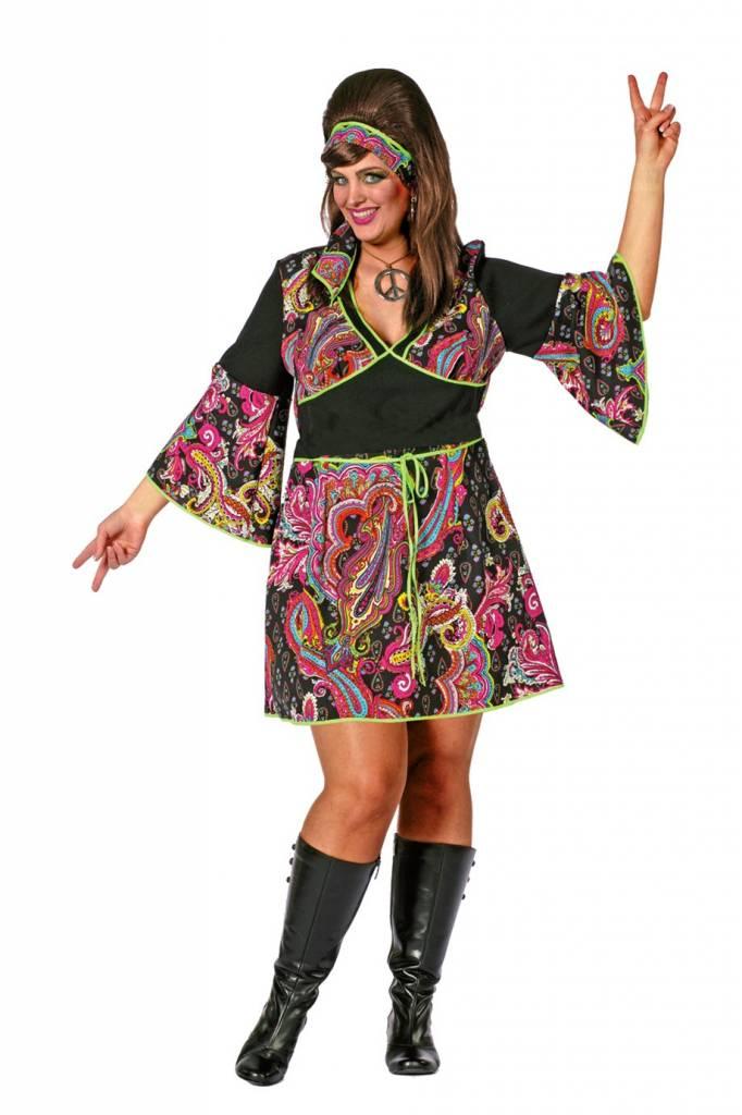 hippie jurk grote maat met hoofdband | hippiekleding.nl