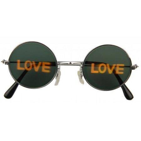 Hippiebril met hologram 'love'