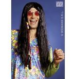 Hippie pruik met Vlechtdecoratie zwart