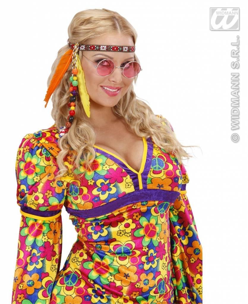 15064cc86a8bf2 Hippie hoofdband met kraaltjes en veren   Hippiekleding.nl