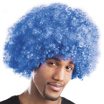 Pruik afro blauw Obi