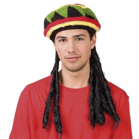 Pruik rasta met Bob Marley muts