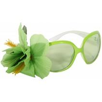 Partybril lime groen met bloem