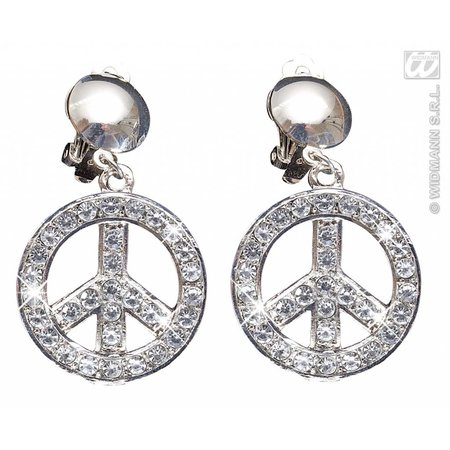 Peace and Love oorbellen Strass
