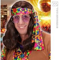 Pruik Hippie bruin Waylon
