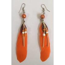 Indiaanse veer oorbellen oranje
