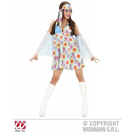 jaren 70 kostuum vrouw lichtblauw