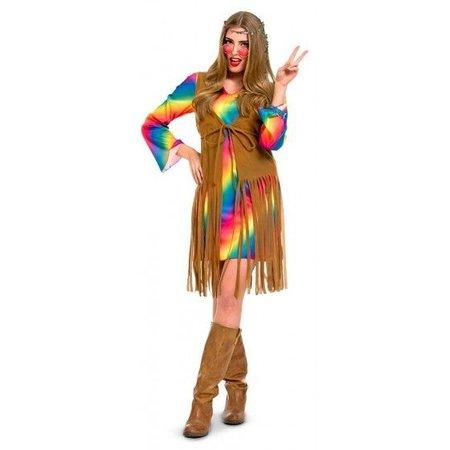 Hippie jurk rainbow 3-delig