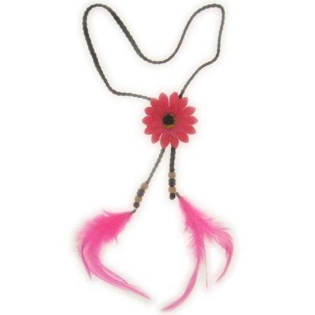 Hoofdbandje hippie met bloem en veren roze
