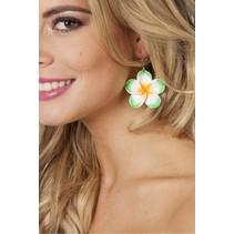 Oorbellen hawaii bloem groen